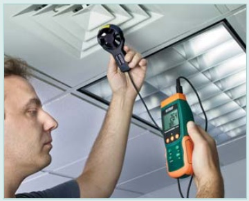 HVAC temperature and air velocity measurements with Extech SDL310-NIST Thermo-Anemometer