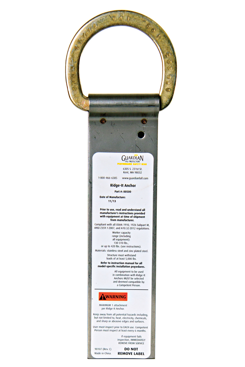 Guardian 00500 Ridge it Anchor 9 3/4' Single D Ring