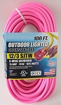 Greentech Power Extension Cord Custom Printed 100 Foot 12 Gauge Pink
