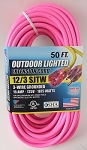 Greentech Power Extension Cord Custom Printed 50 Foot 12 Gauge Pink