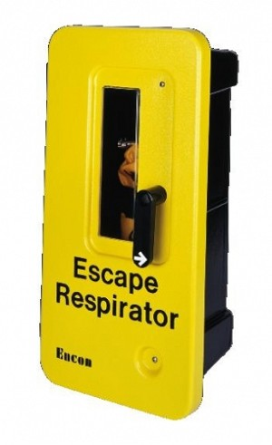 MSA 696192 Escape Respirator single-unit wall-mounting chemical-resistant ABS plastic case, Yellow