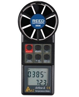 Reed 8906 Rotating Vane Thermo Anemometer w/ Air Volume