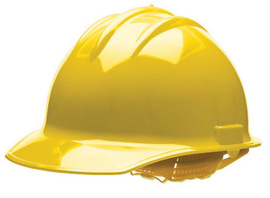 Bullard 30YLP  Yellow Classic C30 3000 Series HDPE Cap Style Hard Hat With Self Sizing 6 Point Pinlock Suspension, Accessory Slots, Absorbent Cotton Brow Pad, And Chin Strap Attachment