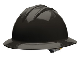 Bullard 33BKP  Black Classic Series C33 HDPE Full Brim Hard Hat With 6 Point Pinlock Suspension, Accessory Slots And Absorbent Polyester Brow Pad