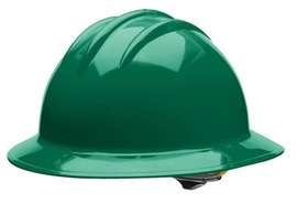 Bullard 33FGP  Forest Green Classic Series C33 HDPE Full Brim Hard Hat With 6 Point Pinlock Suspension, Accessory Slots And Absorbent Polyester Brow Pad