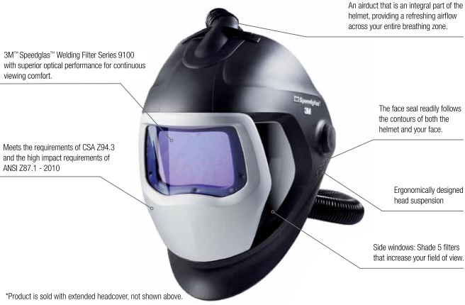 3M Speedglas 25-5802-30SW Supplied Air Welding Respirator Features The 9100 Air Welding Helmet