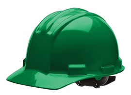 Bullard 51KGP  Kelly Green Standard S51 5100 Series HDPE Cap Style Hard Hat With Flex Gear 4 Point Pinlock Suspension, Accessory Slots, Absorbent Cotton Brow Pad, Chin Strap Attachment, And Rain Trough