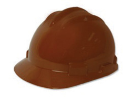 Bullard 61CBP  Brown Standard S61 HDPE Cap Style Hard Hat With 4 Point Pinlock Suspension, Accessory Slots And Absorbent Polyester Brow Pad