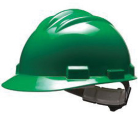 Bullard 61KGP  Green Standard S61 HDPE Cap Style Hard Hat With 4 Point Pinlock Suspension, Accessory Slots And Absorbent Polyester Brow Pad