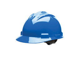 Bullard 61PBP  Blue Standard S61 HDPE Cap Style Hard Hat With 4 Point Pinlock Suspension, Accessory Slots And Absorbent Polyester Brow Pad