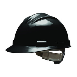 Bullard 62BKP  Black Standard S62 HDPE Cap Style Hard Hat With 4 Point Pinlock Suspension, Accessory Slots And Absorbent Polyester Brow Pad