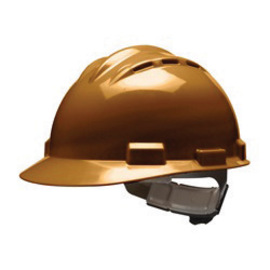 Bullard 62CBP  Brown Standard S62 HDPE Cap Style Hard Hat With 4 Point Pinlock Suspension, Accessory Slots And Absorbent Polyester Brow Pad