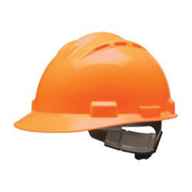 Bullard 62HOP  Hi- Viz Orange Standard S62 HDPE Cap Style Hard Hat With 4 Point Ratchet Suspension, Accessory Slots And Absorbent Polyester Brow Pad