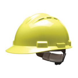 Bullard 62HYP  Hi-Viz Yellow Standard S62 HDPE Cap Style Hard Hat With 4 Point Pinlock Suspension, Accessory Slots And Absorbent Polyester Brow Pad