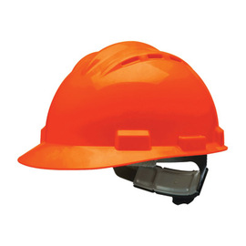Bullard 62ORP  Orange Standard S62 HDPE Cap Style Hard Hat With Flex Gear 4 Point Pinlock Suspension, Accessory Slots, Absorbent Cotton Brow Pad, Chin Strap Attachment, And Rain Trough