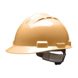 Bullard 62TNP  Tan Standard S62 HDPE Cap Style Hard Hat With 4 Point Pinlock Suspension, Accessory Slots And Absorbent Polyester Brow Pad