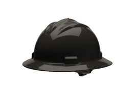 Bullard 71BKR  Black Standard S71 HDPE Full Brim Hard Hat With 4 Point Ratchet Suspension Absorbent Cotton Brow Pad And Chin Strap Attachment