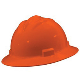 Bullard 71HOP  Hi-Viz Orange Standard S71 HDPE Full Brim Hard Hat With 4 Point Pinlock Suspension, Accessory Slots And Absorbent Polyester Brow Pad