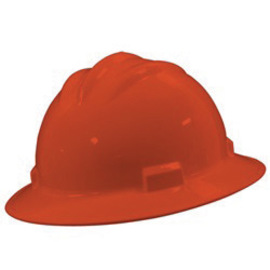 Bullard 71ORP  Orange Standard S71 HDPE Full Brim Hard Hat With 4 Point Pinlock Suspension Absorbent Cotton Brow Pad And Chin Strap Attachment
