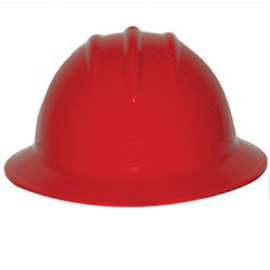 Bullard 9HRDR  Red 911H Thermoplastic Full Brim Hard Hat With Self-Sizing 6 Point Ratchet Suspension And Sportek Brow Pad