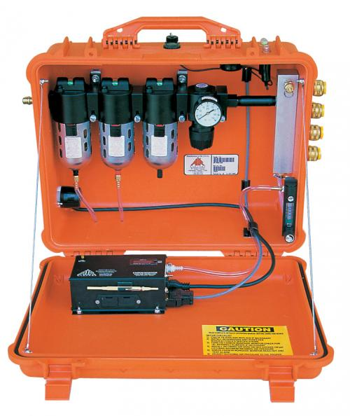 The Air Systems BB50-COO2 Portable Breather Box-1 is a heavy-duty, Grade-D breathing air filtration System.