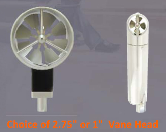 Kanomax 6813 Anemometer Is Available With 2.75 inch or 1 inch Vane Heads