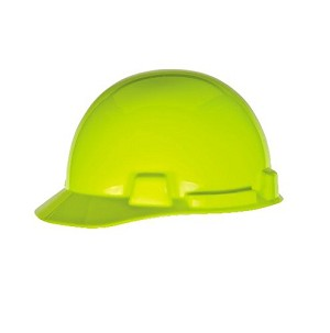 MSA Safety 10074084 SmoothDome Protective Cap, Hi-Viz Yellow-Green, 4-Point Fas-Trac III