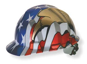 MSA 10052947 Hard Hat, FrontBrim, Sltd, USFlag w/2Eagles