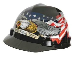 MSA 10079479 Hard Hat, FtBrm, Slttd, 4Rtcht, Eagle w/Flag