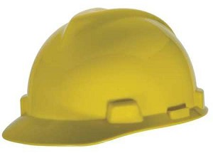 MSA 466356 V-Gard Slotted Cap, Yellow, w/Staz-On Suspension