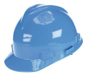 MSA 477478 Hard Hat, FrtBrim, Slotted, 4Rtcht, Blue