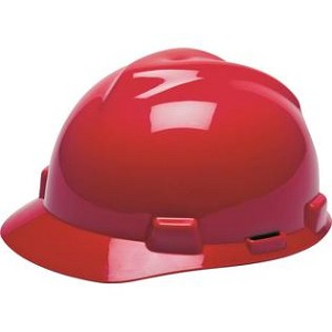MSA Safety 475363 Hard Hat, Front Brim, Fastrac, Red