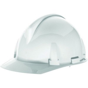 MSA Safety 475385 Hard Hat, FrtBrim, Slotted, Rtcht, White