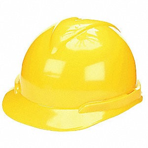 MSA Safety 804939 Hard Hat, FrtBrim, Slotted, 4Rtcht, Yellow
