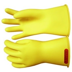 "Salisbury Honeywell E0011RY Lineman Gloves Class 00 Low Voltage 11"" Yellow With Red Inside"