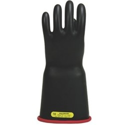 "Salisbury Honeywell E416BCRB Lineman Gloves Class 4 Bell Cuff 16"" Black With Red"
