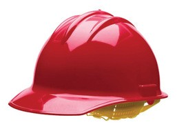 Bullard 30RDP  Red Classic C30 3000 Series HDPE Cap Style Hard Hat With Self Sizing 6 Point Pinlock Suspension, Accessory Slots, Absorbent Cotton Brow Pad, And Chin Strap Attachment